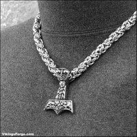 Extra Large Stainless Steel Beast Head Thor's Hammer on Thick Round Byzantine Chainmaille Necklace
