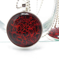 Black & Red Pendant 1.5 inch  Animal Print Necklace