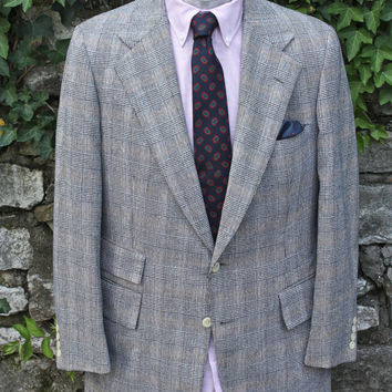 SALE Polo by Ralph Lauren Men's Brown Grey Plaid Suit 42 Short Rare