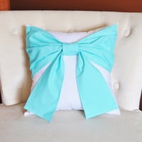Decorative Throw Pillow Bright Aqua Bow on White Pillow 14x14 -Tiffany Blue Pillow- READY TO SHIP-