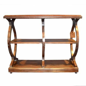 Antique Style Wooden Console Table With 2 Shelves, Brown-EN27253