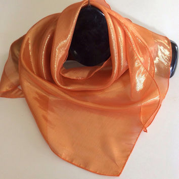 Tangerine Orange Silk Triangle scarf, Party favors, Holiday Gift, Festive sparkle bling, Birthday Gift, Coworker gift, Bridesmaid accessory
