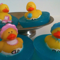 3 Mini Baby Rubber Duckie Pond Soaps by marilynpaynedesigns