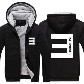 2017 New Winter Mens Thick Hoodies Eminem Hip Hop Punk Rock Rap Rock Hip Hop Tracksuit Thick Velvet Sweatshirt