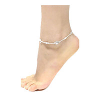 Silver Turtle Dolphin & Clear Crystal Anklet