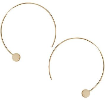 DCCKV2S Humble Chic Disc Hoops - Modern Upside Down Curved Open Circle Threader Earrings
