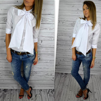 Bowknot High Neck Long Sleeves Pure Color Blouse