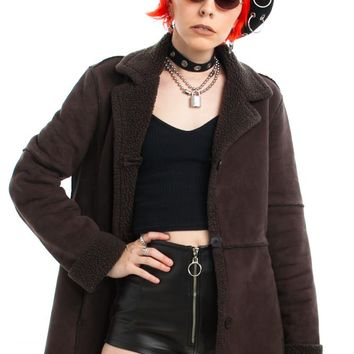 Vintage Y2K Chocolate Vegan Suede Coat - One Size Fits Many