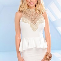 White Peplum Dress with Gold Glitter Neckline & Tie Back