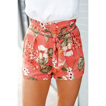 All For You Floral Tie Front Shorts (Deep Coral)