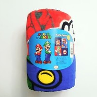 "NINTENDO Super Mario Plush Throw Blanket 50 "" x 60"" (127cm x 152cm) Mario Luigi"