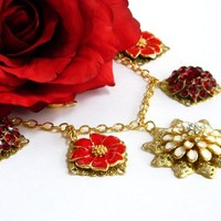 Red Recycled Jewelry Necklace Vintage Earrings Gold Short Handmade