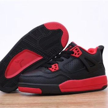 "Air Jordan 4 ""Black Red"" Toddler Kid Shoes Child Sneakers - Best Deal Online"