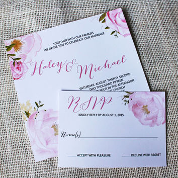 SALE 10% Floral Modern Wedding Invitation. Floral. Watercolor invitation. Suite. Wedding Invitation. Wedding Stationary. Custom Stationary