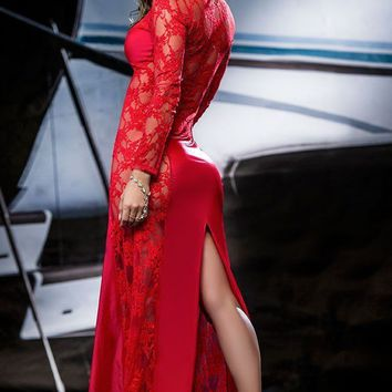 Long Glamorous Red Gown featuring Lace Insets on the Top and Sides