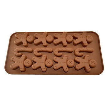 1 X 3D Silicone Mold Gingerbread Man Crutches Mould For Chocolate Soap Candy LS