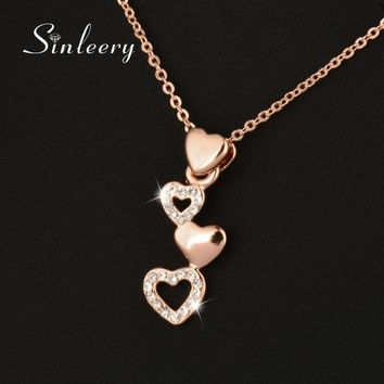 SINLEERY 2017 Lovely Cute Small Heart Pendant Necklace For Women Rose Gold Color Fashion Jewelry Valentine's Day Gifts Xl616 SSC