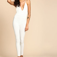 WHITE MINIMIALIST X BACK JUMPSUIT
