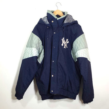 Vintage New York NY Yankees Baseball Starter Zip front Hooded Parka Jacket Sz L