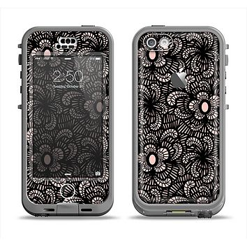 The Black Floral Lace Apple iPhone 5c LifeProof Nuud Case Skin Set