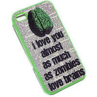 SALE iphone 4 case plastic case -  Ready to ship - neon green case - Holiday Sale - Christmas Sale - zombie brains quote
