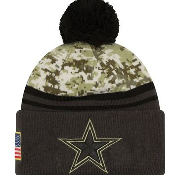 Dallas Cowboys New Era Knit Sideline ON-Field Salute to Service Pom Hat Cap NFL