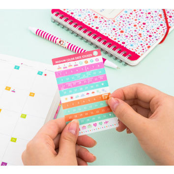Ardium Color date adhesive sticker set of 6 sheets