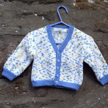 "CIJ Sale. Hand knitted baby boys multi v - neck cardigan. 19"" chest."