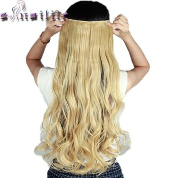 "S-noilite 61CM 24"" baby blonde Curly Long Women 3/4 Full Head Clip in Hair Extensions Real Thick Synthetic hairpiece for human"