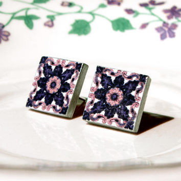 Portuguese Tile Stud Earrings, Azulejo Inspired, Unique Jewelry, Historical Jewelry, Antique Style, Blue and White, Tiny Earrings