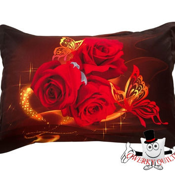 3D Butterfly Red Rose Pillowcase