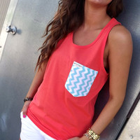 Neon Coral Tank w/ Chevron Pocket