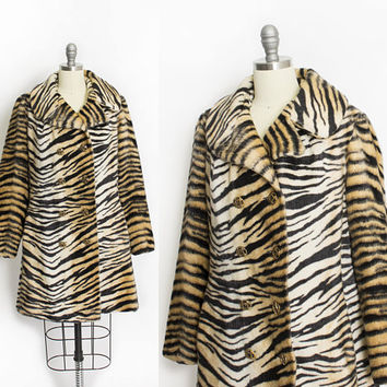 Vintage 1960s Coat - Animal Print FAUX FUR Tiger Double Breasted Mod Jacket 60s - Medium