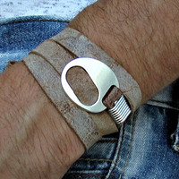 Leather Wrap Bracelet Mens Womens Multi-strand Leather Bracelet Cuff Adjustable to your wrist