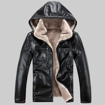 Men PU leather jackets New brand plus velve casual mens leather jackets and coats,Hat Detachable Winter warm