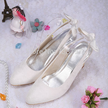 Wedopus Italian Style White Ivory Lace Pointed Toe Low Heel Pumps Slingback with Back Bow
