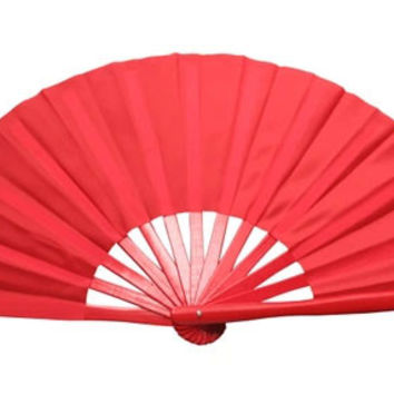 Plain Tai Chi Fan Red