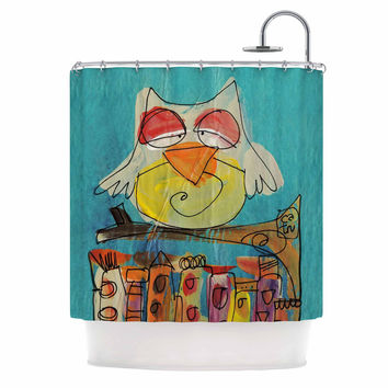 "Carina Povarchik ""Urban Owl Teal "" Teal Kids Shower Curtain"