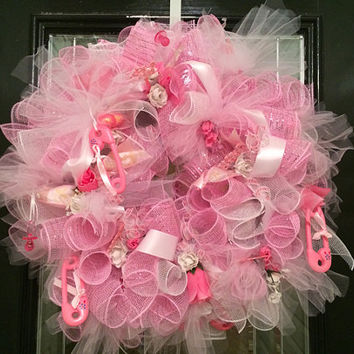 Baby Shower Decoration, Baby Girl Welcoming Wreath, Baby Girl Hospital Door Hanger