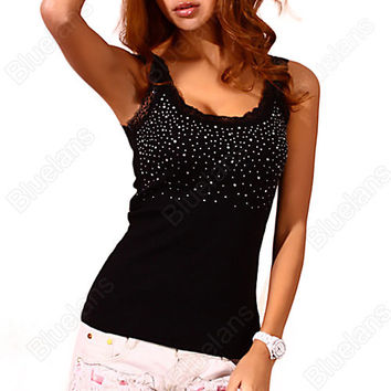 Sexy Women's Rhinestone Lace Stunning Based Sleeveless Vest Tank Top Tee T-Shirt Black White Free Shipping 02XH