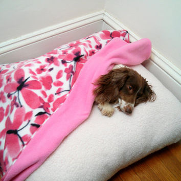 Pink Butterfly Small Dog Bed Slip Cover & Blanket Set