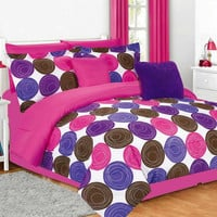 Girls Kids Bedding- Comforter Set- Jacky- Hot Pink