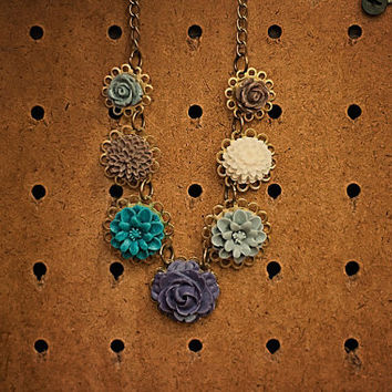 Handmade Autumn Fall Purple, Brown, Ivory, Teal, Grey Resin Rose Flower Bib Necklace on Antiqued Gold Chain