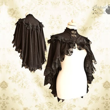 Cloak Steampunk Victorian, black lace capelet , romantic shrug, Noctua, Somnia Romantica, size small see item details for measurements