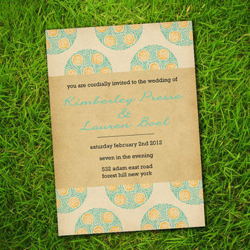 DIY Printable - Vintage Turquoise Amber Bohemian Print Customizable Wedding Invitation Card