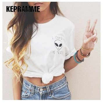 2017 KEPRAMME New 21 Colors Alien t shirt plus Size women Harajuku Blusa tumblr cool camisetas mujer Plus Size t-shirt WMT110