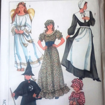 Simplicity 7650 Pattern for Angel, Witch, Colonial Girl, Pilgrim, or Medieval Costumes, Girls Size 6 to 8, From 1986