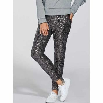 Shiny Sequins Pants - Silver S