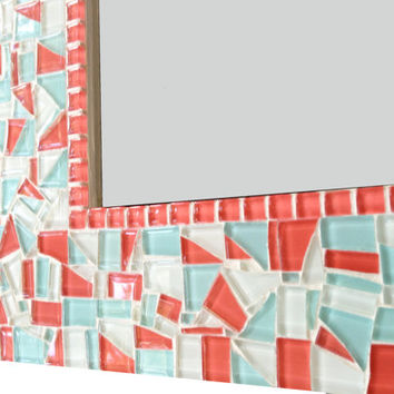 Mosaic Wall Mirror // Aqua Coral White // Nursery Decor