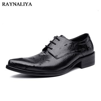 Big Size 37-44 New Fashion Men Wedding Dress Shoes Black Shoes Pointed  Toe Flat Business British Lace-up Men's Shoes YJ-A0000